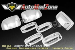 00 06 Chevy Tahoe Suburban Chrome 4 Door Handle Tailgate Upper Mirror Cover