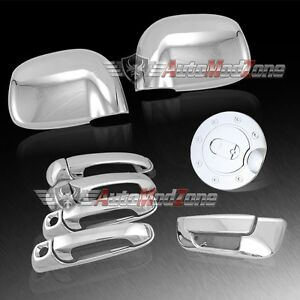 For 02 08 Dodge Ram Chrome 4 Door Handle Tailgate Mirror Cover Gas Door Combo