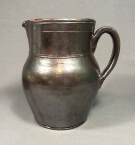 19th Century Redware Pottery Pitcher Poss Pennsylvania