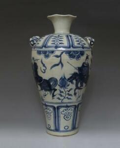 Very Rare Chinese Old Blue And White Porcelain Vase With Soldier 37cm 624
