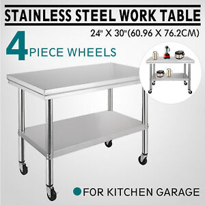 30x24 Kitchen Stainless Steel Work Table 4 Casters Shelving Food Prep Tables