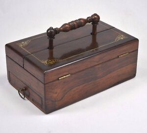 Antique C 1800 20 Travelling Inkwell Rosewood Mother Of Pearl Handsome Box Rare