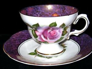 Rosina Wide Purple Gold Border Purple English Roses Tea Cup And Saucer 1488