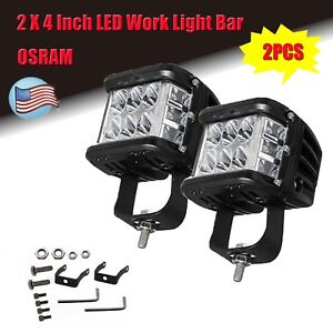 New 2 X 4 Inch Osram Led Work Light Bar Side Shooter Combo Beam Driving Offroad