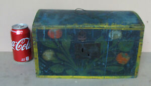 Early 19th C Paint Decorated Wood Document Box Original Paint