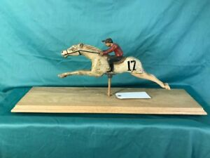 Antique Wooden Hand Carved Derby Horse Jockey Carnival Racing Race Game Fair