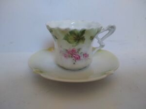 Antique Rs Germany Pink Rose Porcelain Demitasse Cup Saucer Set