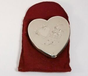 Compact Vintage Sterling Silver Heart Shape With Pouch