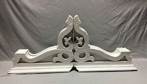 Pair Large Antique White Roof Bracket Corbels Shabby Vtg Chic Old 4 19m