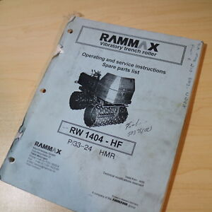 Ammann Rammax Rw 1404 Hf Trench Roller Compactor Owner Operator Parts Manual