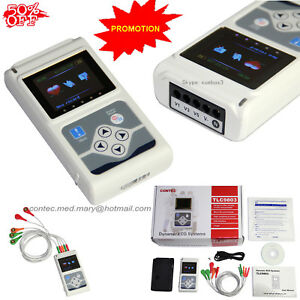 Ecg ekg Holter System 3 Channel 24 Hours Recorder Monitor Usb software 3 6 Days