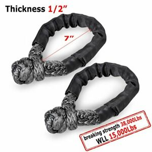 2pc Black 1 2 Synthetic Soft Shackle Strap 38000lbs Wll 15000lbs For Winch Rope