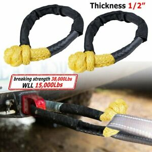 2pcs 1 2 Synthetic Soft Shackle Recovery Strap 38000lbs For Winch Rope Yellow