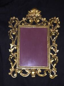 Vintage Cast Metal Gold Rococo Victorian Style Standing Picture Frame