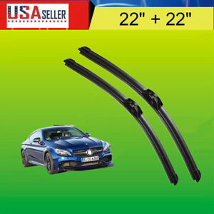22 22 Oem Quality Bracketless Windshield Wiper Blades J Hook Pair All Season