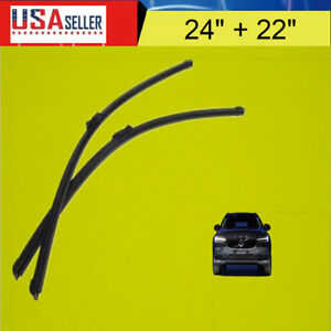 One Pair 24 22 Inch Bracketless J Hook Windshield Wiper Blades Oem Quality