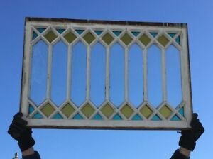 Antique Stained Colored Glass Window Sash 24x36 Old Shabby Vintage Chic 683 18c