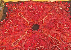 Antique Paisley Wool Shawl 82x82 Pieced Textile Coverlet Heavy Embroidered