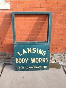 1920 s Vintage Antique Truck Door Hand Lettered lansing Body Works stumpy