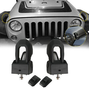 Black Aluminum Hood Latches Lock Catch Locking Ki For 2007 2018 Jeep Wrangler Jk
