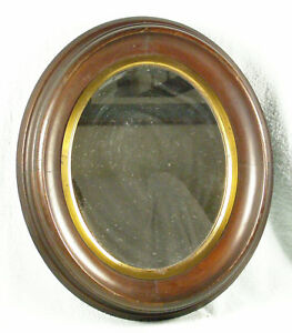 Antique Oval Walnut Picture Frame With Mirror
