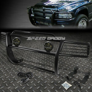 Black Brush Grille Guard round Smoke Fog Light For 98 03 Dodge Dakota durango