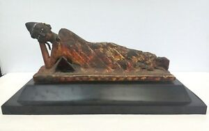 Antique Thai Reclining Buddha Parcel Gilt Lacquer Wood On Stand 15 3 4