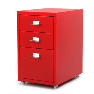 Rolling Metal File Cabinet Mobile Storage Filing Cabinet 3 Drawers Red J3a8