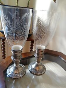 Pair Of Weighted Gorham Sterling Silver Candlesticks Etched Hurricane Globes