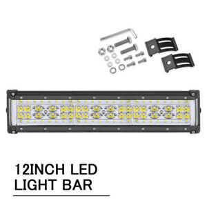 Quad Row 500w 12inch Led Light Bar Flood Combo Work Driving Offroad Side Shooter