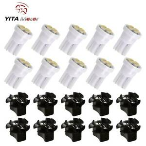 Yitamotor 10x T10 Led Instrument Dashboard Gauge Bulb Light pc194 Twist Sockets