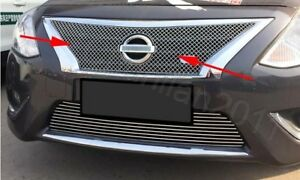 Steel Front Central Mesh Grille Cover Trim For 15 18 Nissan Versa Sedan 1p