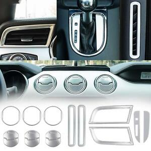 For 2015 2019 Ford Mustang Interior Accessories Decor Trim Cover Silver 15pcs