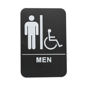 Men s Braille Handicapped Ada Restroom Sign Double Sided Tape black 6x9