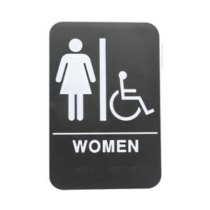 Woman s Braille Handicapped Ada Restroom Sign Double Sided Tape black 6x9