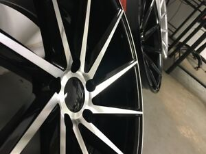 Four 19 Black Machine Face C Style Rims Fits Staggered Honda Civic Accord 5x114