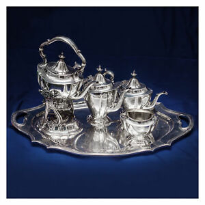 Reed Barton Sterling Silver 6 Piece Coffee Tea Set With Kettle And