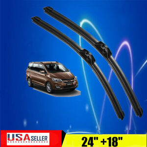 24 18 Inch One Pair Windshield Wiper Blades Bracketless J Hook Oem Quality