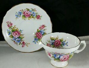 Rosina English Bone China Teacup And Saucer Multi Colored Bouquets
