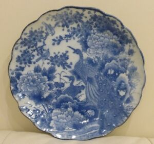 Antique Chinese Porcelain Blue And White Birds Plate Qing Dynasty Kangxi Period
