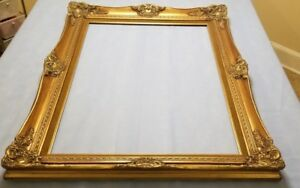 Large Vintage Ornate Picture Frame 32 X 44 Old Gold Antique Style