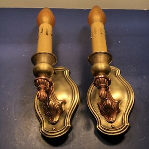 Pair Of Antique Lightolier Red Yellow Brass Sconces Nice 65b