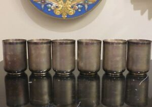 Bhatter Co Set Of 6 Sterling Silver Cups 656 Grams India