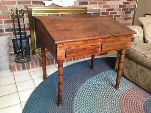 Early Primitive Slant Top Secretary Desk