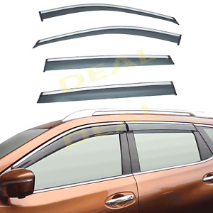 4pcs Smoke Tint W Chrome Trim Vent Shade Window Visors Fit 14 19 Rogue X Trail