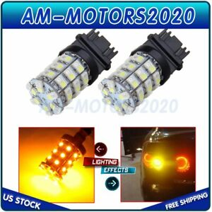 2x 60 Smd Led Amber White Dual Color 3157 3457 Switchback 2835 Turn Signal Light