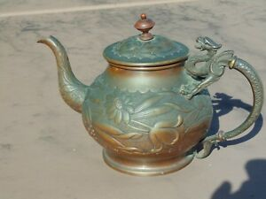 Rare Old Copper Or Bronze Asian Antique Chinese Dragon Handle Embossed Teapot
