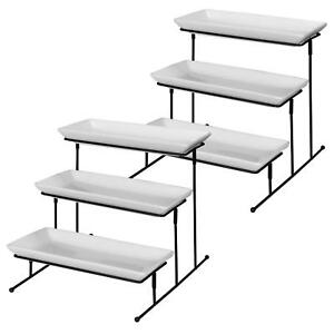 3 tiers Stand Plate Rack Cupcake Dessert Buffet Display 2 Pcs Server Tray Set