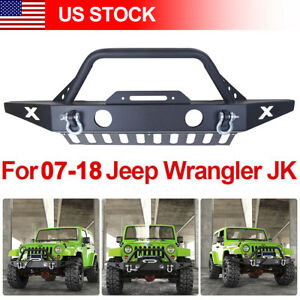 For 2007 2018 Jeep Wrangler Jk Front Bumper W Winch Plate D Rings
