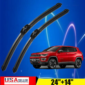 24 14 Inch Windshield Wiper Blades J Hook Quality Bracketless Frameless Us